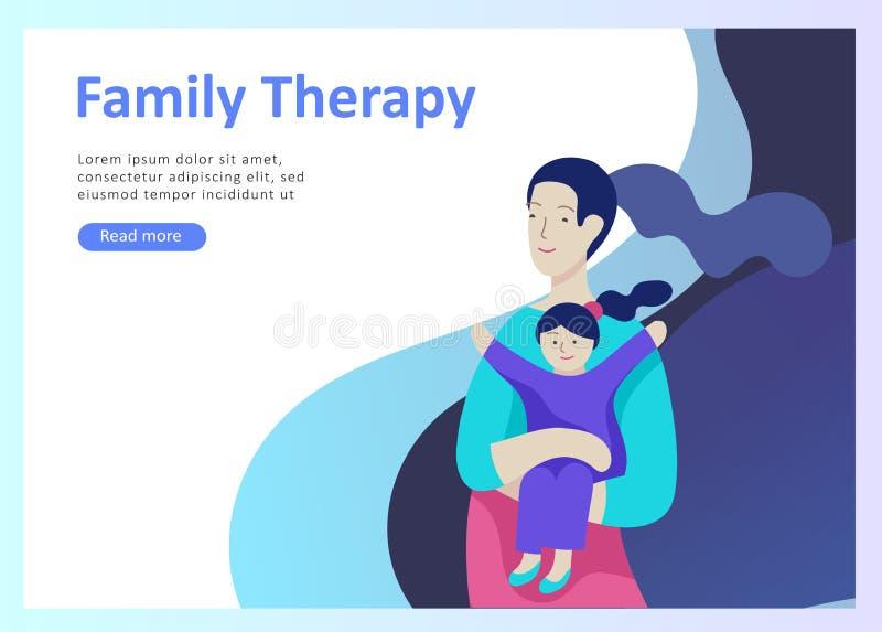 登陆的页模板幸福家庭,旅行和精神疗法,家庭医疗保健,母亲父亲的物品娱乐 库存例证