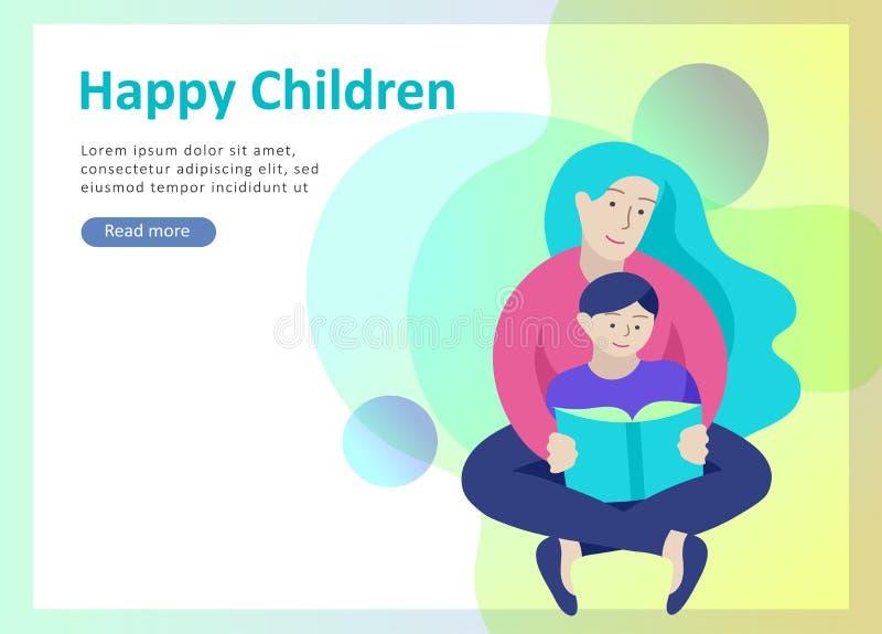 登陆的页模板幸福家庭,旅行和精神疗法,家庭医疗保健,母亲父亲的物品娱乐 皇族释放例证