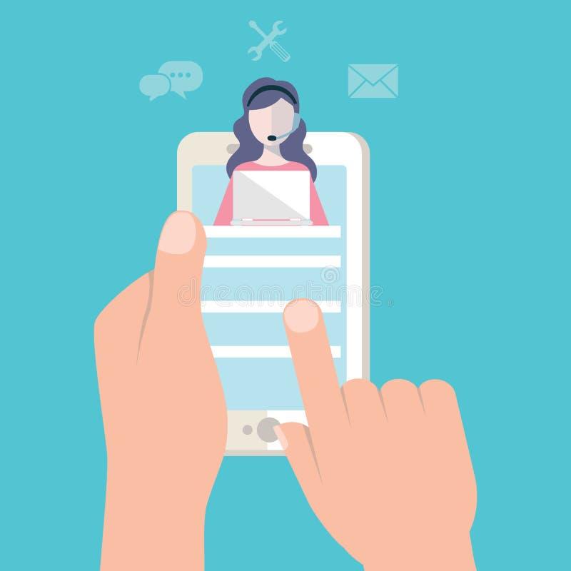 登陆的页模板顾客和操作员,网上技术支持24-7网页 传染媒介例证女性热线 库存图片