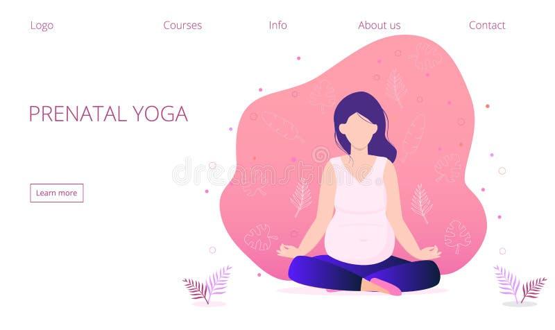 登陆的页的怀孕的瑜伽概念 禅宗放松姿势,凝思,自我改善,控制头脑 皇族释放例证