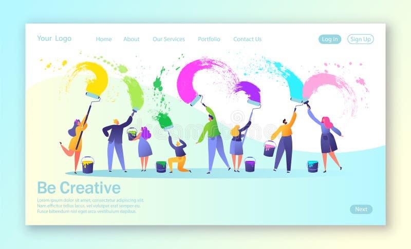 登陆的页的概念与企业创造性的配合的 与刷子和漆滚筒大丝毫的创造性的人字符油漆 向量例证