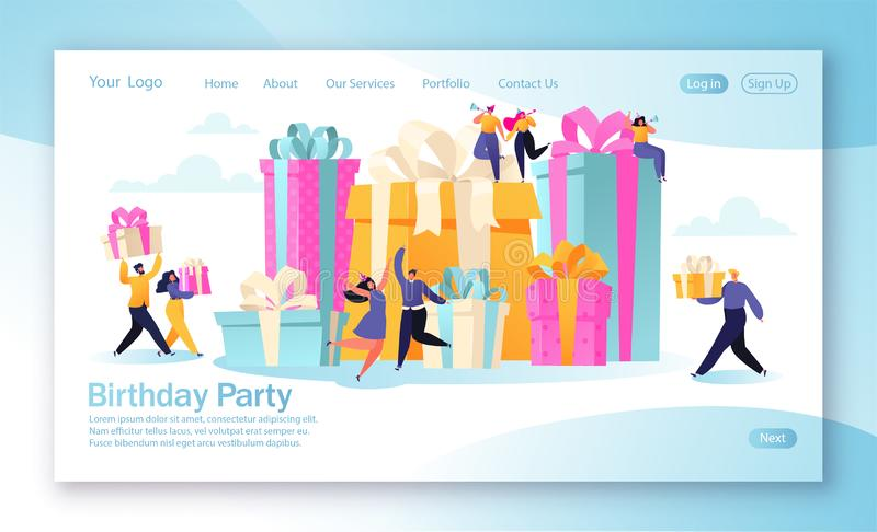 登陆的页的概念与生日庆祝题材的流动网站发展和网页设计的 库存例证