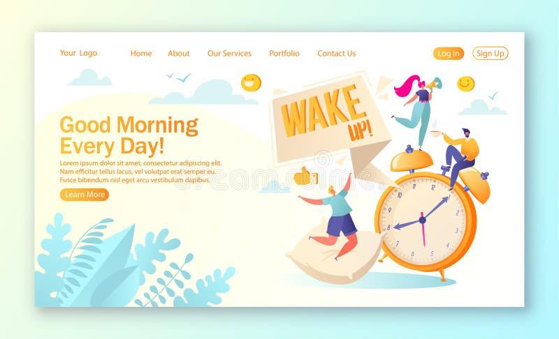 登陆的页的概念在每日早晨生活和定期题材的 早晨叫醒警报,并且愉快,人字符高兴在 皇族释放例证