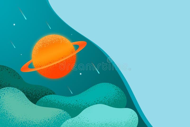 登陆的页网背景和科学横幅 与土星的星系 向量例证
