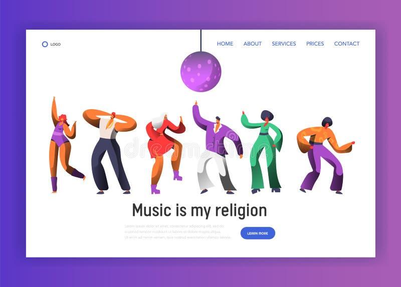 登陆页模板的迪斯科跳舞的字符 舞蹈夜网站或网页夜生活俱乐部舞蹈家的党节日 皇族释放例证