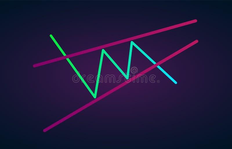 登高的楔子样式形象技术分析 传染媒介股票和cryptocurrency交换图表,外汇逻辑分析方法和换 库存例证