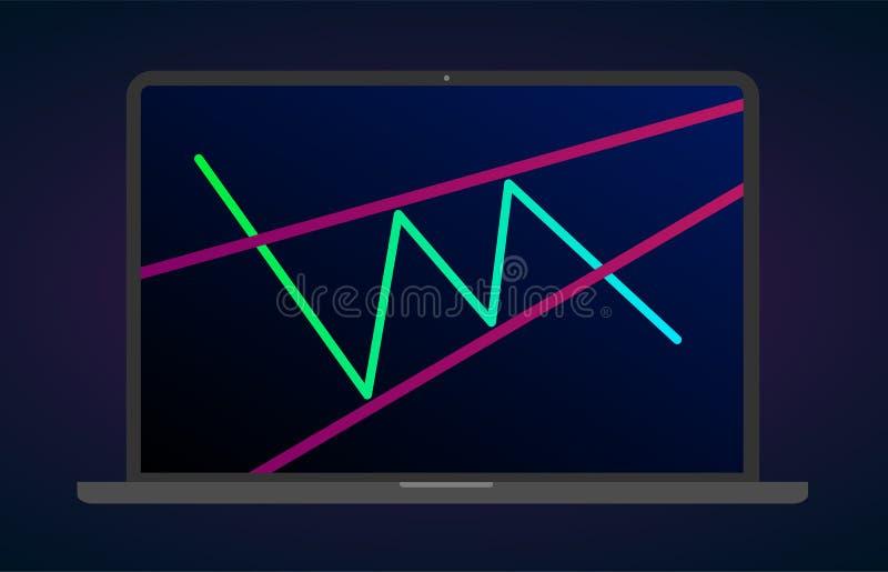 登高的楔子样式形象技术分析 传染媒介股票和cryptocurrency交换图表,外汇逻辑分析方法贸易的图 向量例证