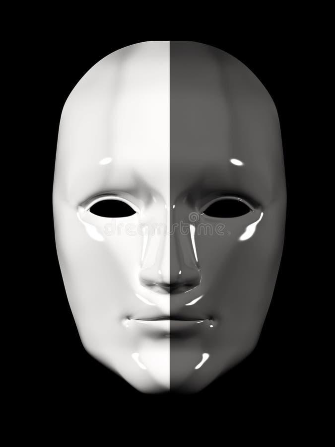 黑白不同的颜色人面面具- 皇族释放例证