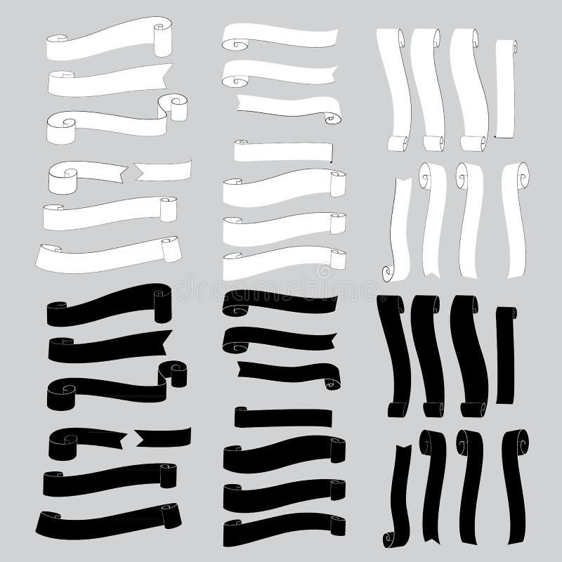 黑白丝带横幅 向量例证