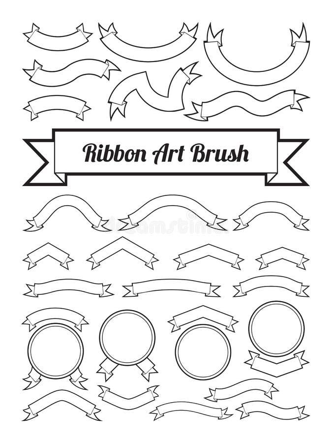 黑白丝带艺术刷子,正文框模板,空白的商标设计,曲线线形在圈子边界附近的装饰元素 库存例证