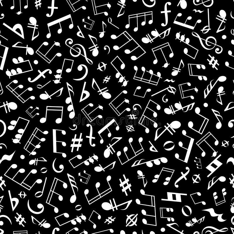 黑白乐谱无缝的样式 库存例证