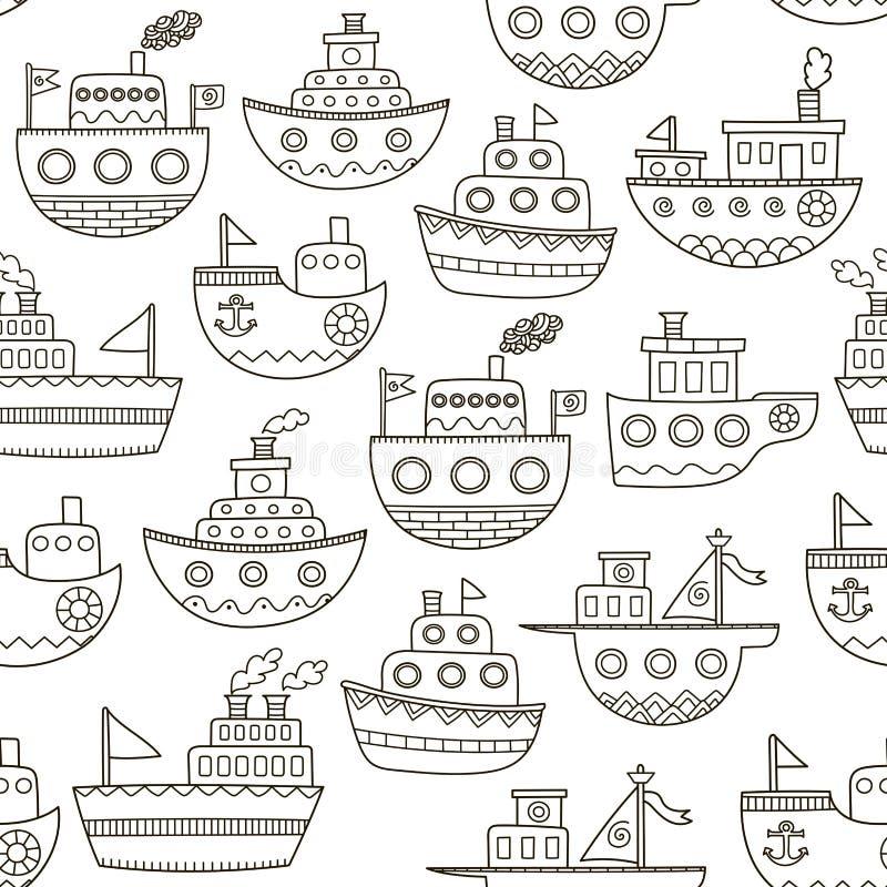 黑白乱画小船无缝的样式 库存例证