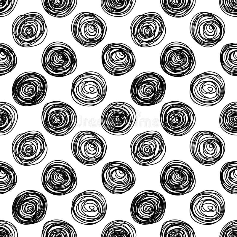 黑白乱画盘旋无缝的样式,传染媒介 皇族释放例证