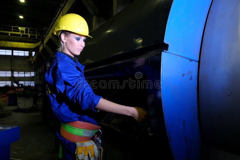 白人妇女工作 免版税图库摄影