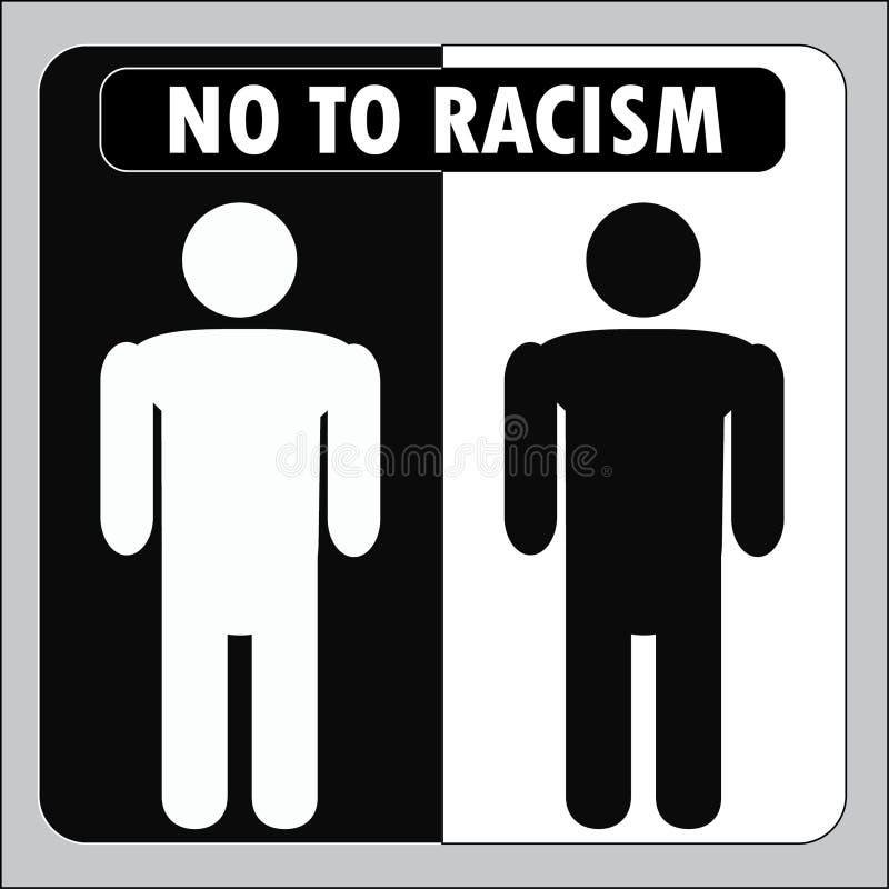 黑白人,有题字的-不是种族主义 图标 Vec 向量例证