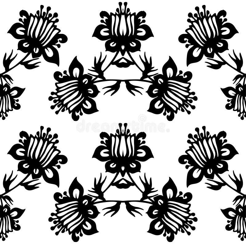 黑白传染媒介无缝的锦缎样式 皇族释放例证