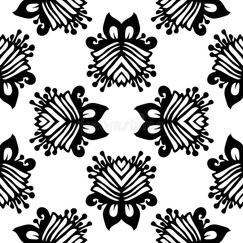 黑白传染媒介无缝的锦缎样式 库存例证