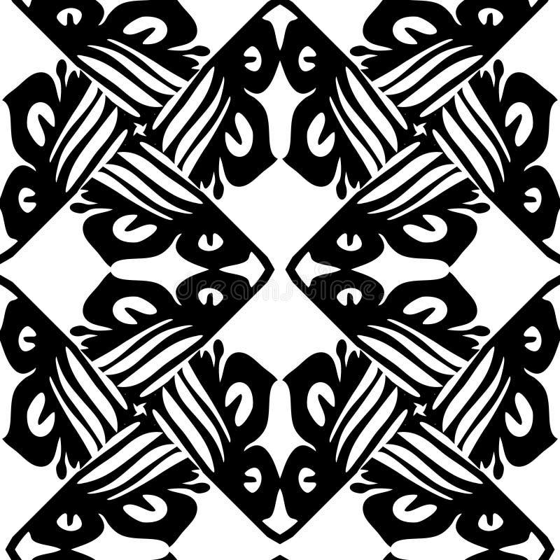 黑白传染媒介无缝的锦缎样式 向量例证