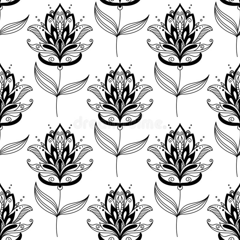 黑白佩兹利花卉样式 向量例证