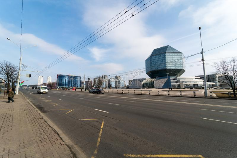 白俄罗斯共和国的国立图书馆 图库摄影