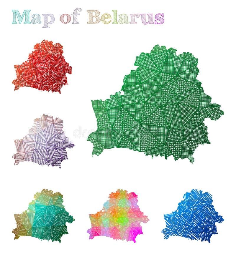 白俄罗斯的手拉的地图 向量例证