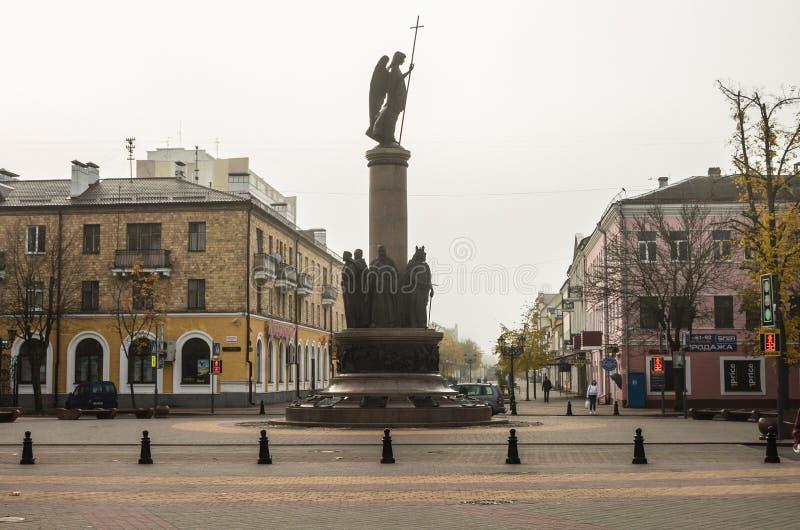 白俄罗斯,布雷斯特,25,2015年10月:布雷斯特Arbat,Sovetskaya街 免版税库存图片