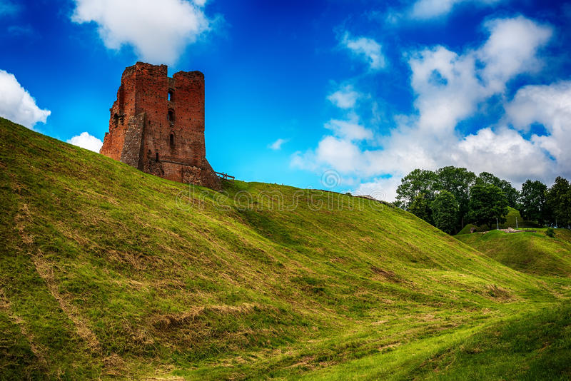 白俄罗斯:新格鲁多克, Naugardukas, Nowogrodek, Novogrudok城堡废墟  库存照片