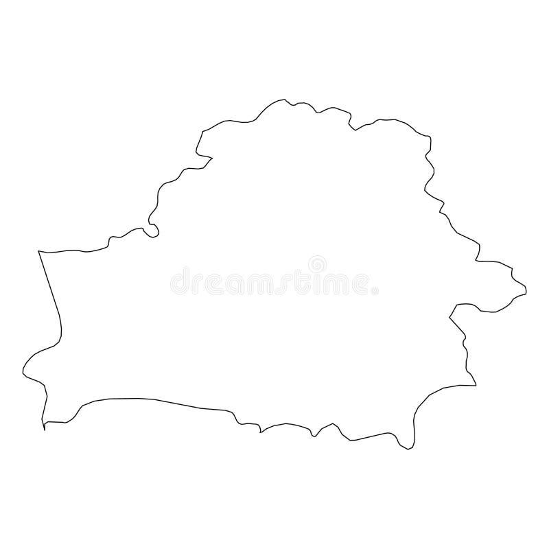 白俄罗斯-国家区域坚实黑概述边界地图  简单的平的传染媒介例证 向量例证