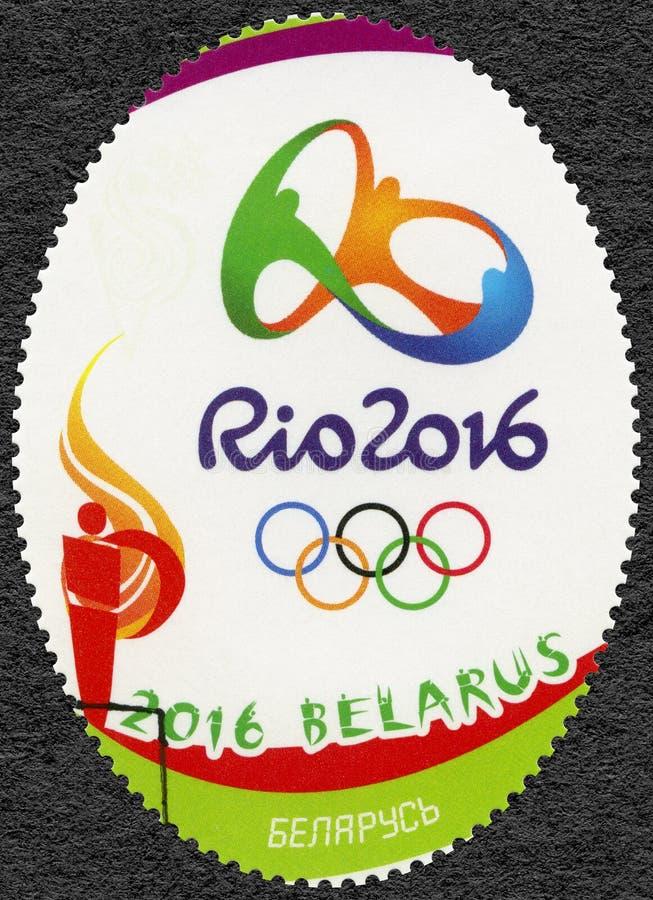 白俄罗斯- 2016年:展示奥林匹克圆环和标志, 31th奥运会,里约,巴西 库存图片