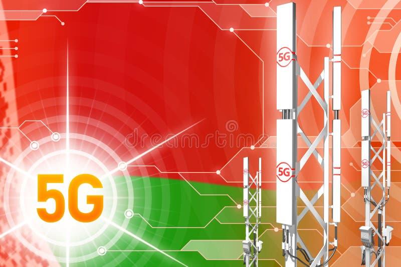 白俄罗斯5G工业例证、巨大的多孔的网络帆柱或者塔在数字背景与旗子- 3D例证 库存例证