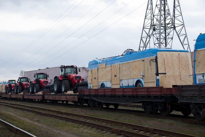 '白俄'新型三门无轨电车 库存照片