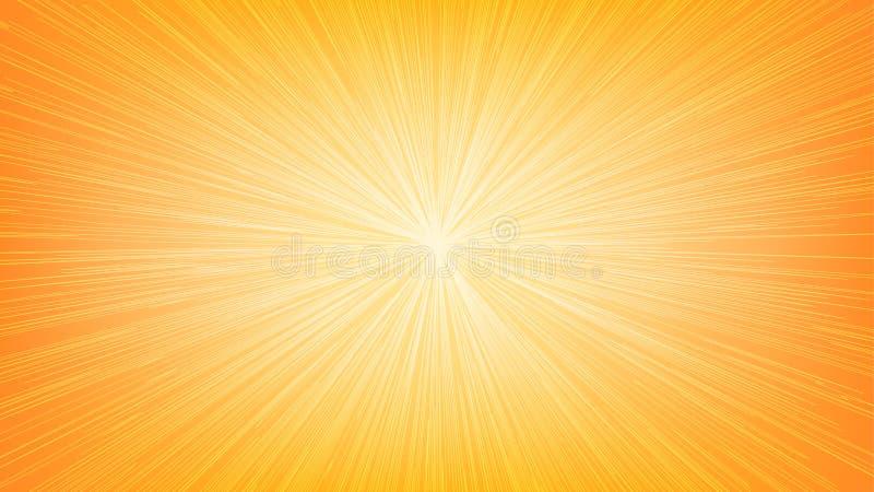 白光速度线在橙色背景的爆炸光芒 向量例证