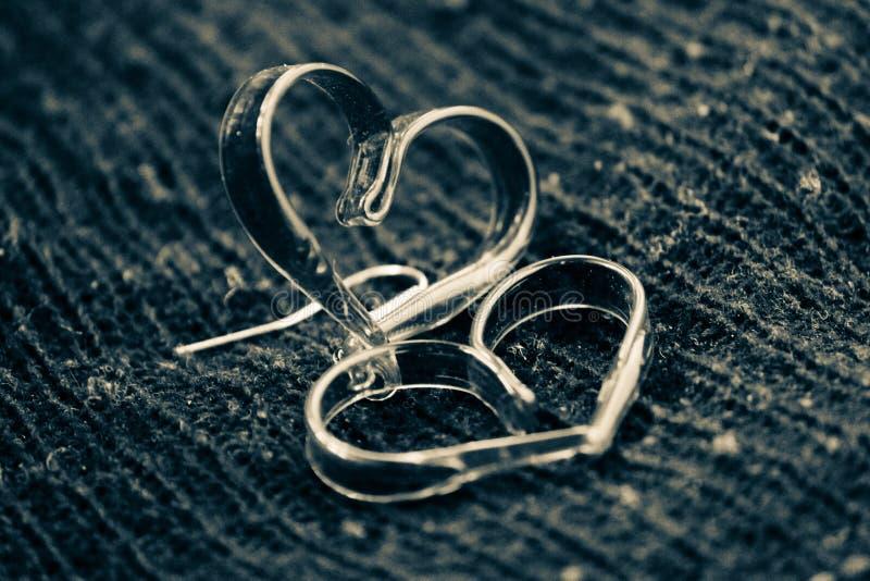 黑白光滑的爱心脏 库存照片