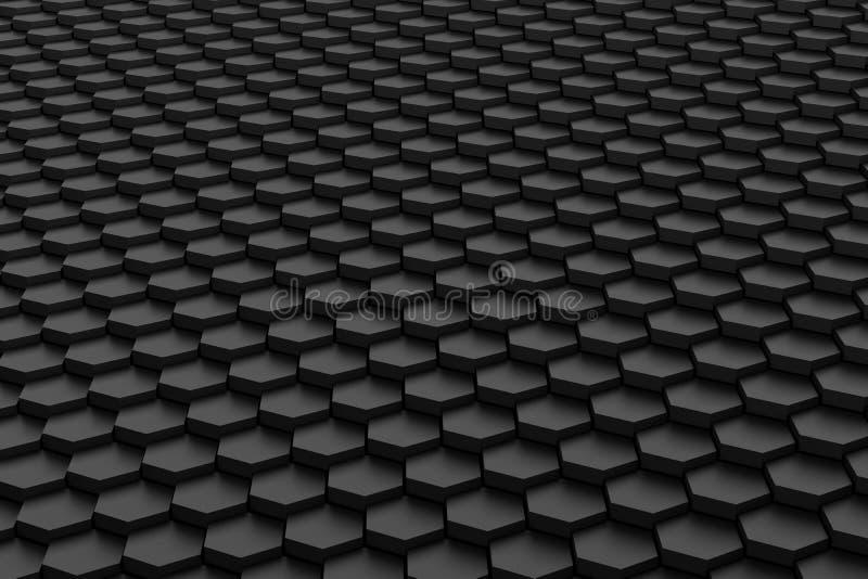 黑白六角形瓦片 库存例证