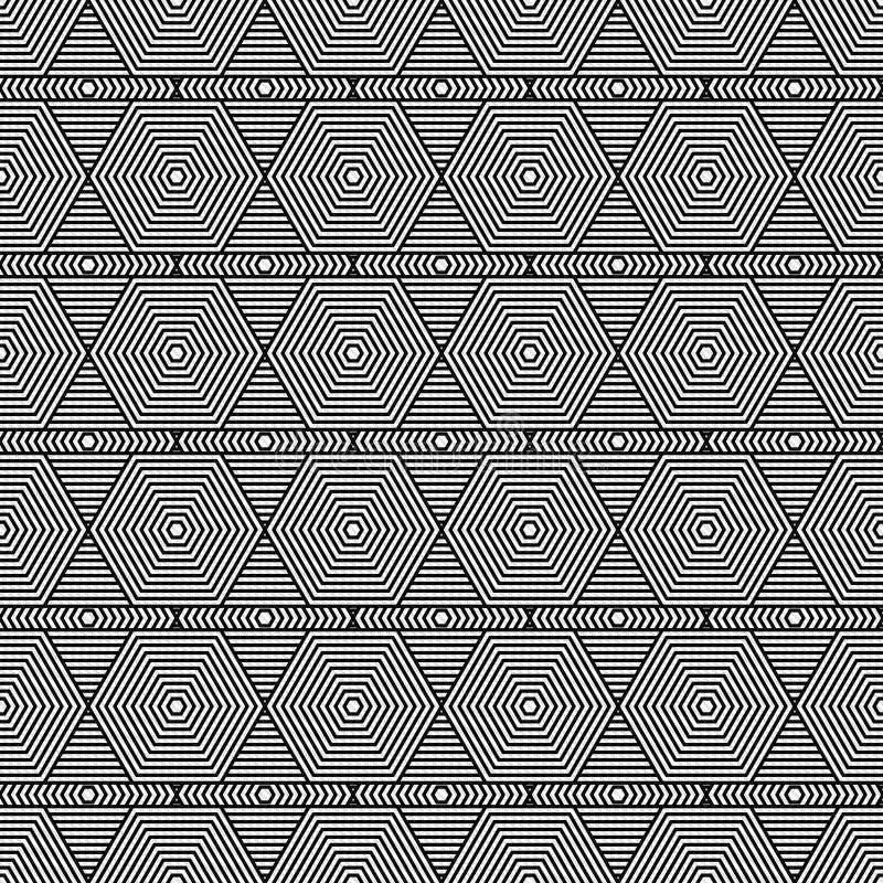 黑白六角形铺磁砖样式重复 免版税库存图片