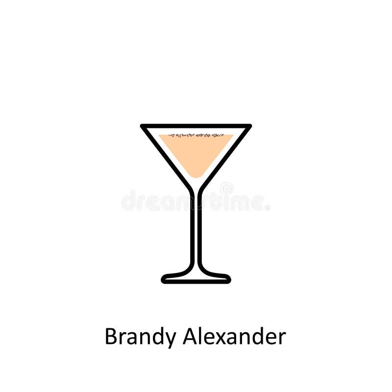 白兰地酒亚历山大在平的样式的鸡尾酒象 皇族释放例证