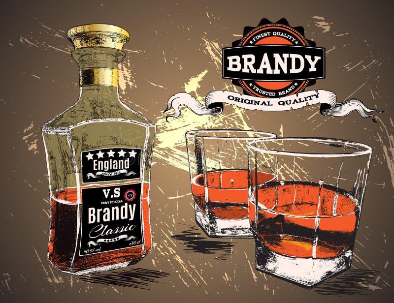 白兰地酒是倾吐与瓶的两块玻璃 皇族释放例证