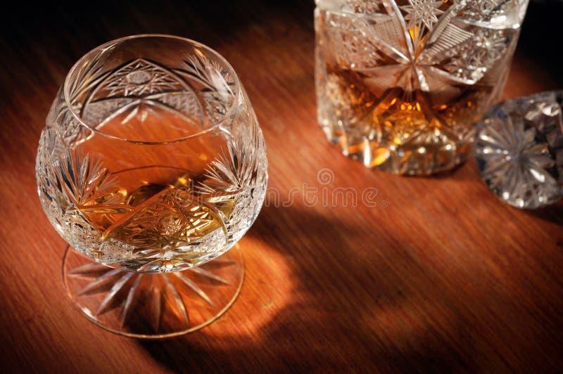 白兰地酒水晶一口威士忌酒 库存照片