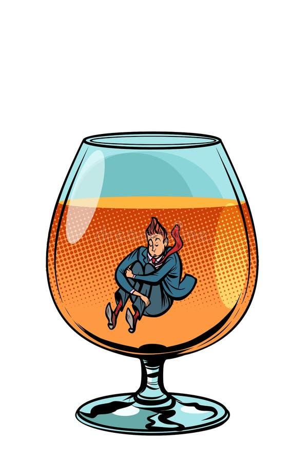 白兰地酒玻璃的醉汉 库存例证