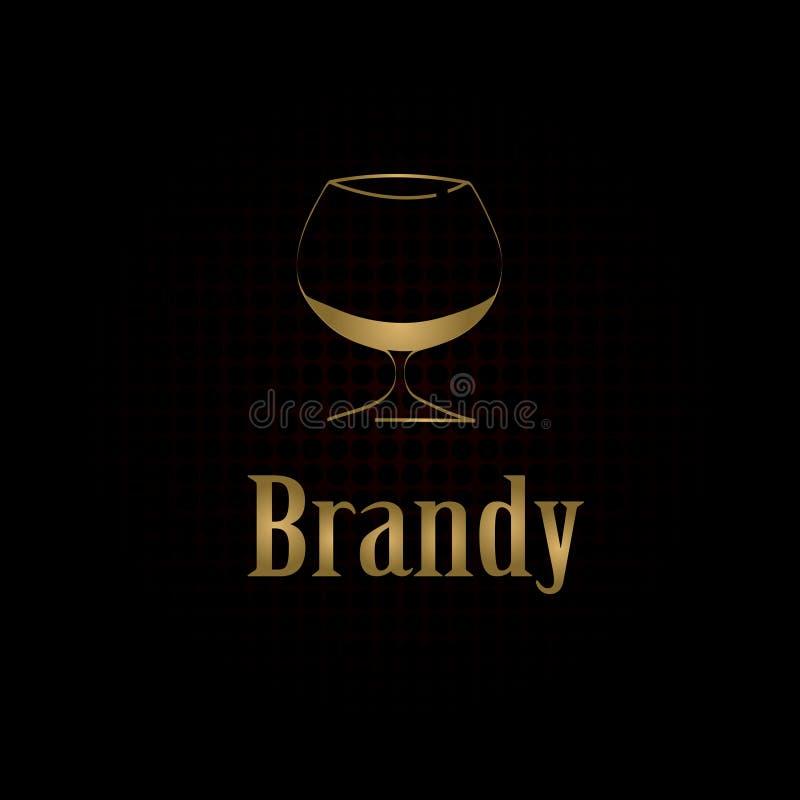 白兰地酒玻璃设计菜单背景 库存例证
