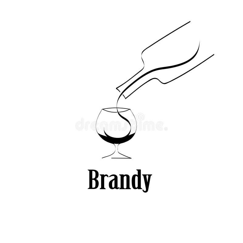 白兰地酒玻璃设计菜单背景 向量例证
