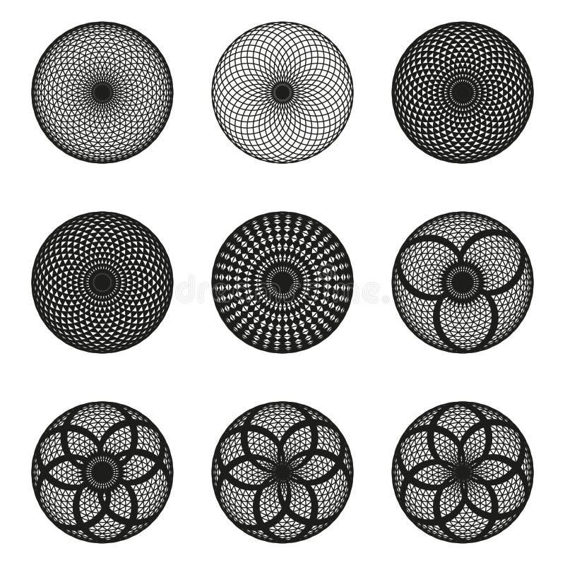 黑白几何圆样式 向量例证