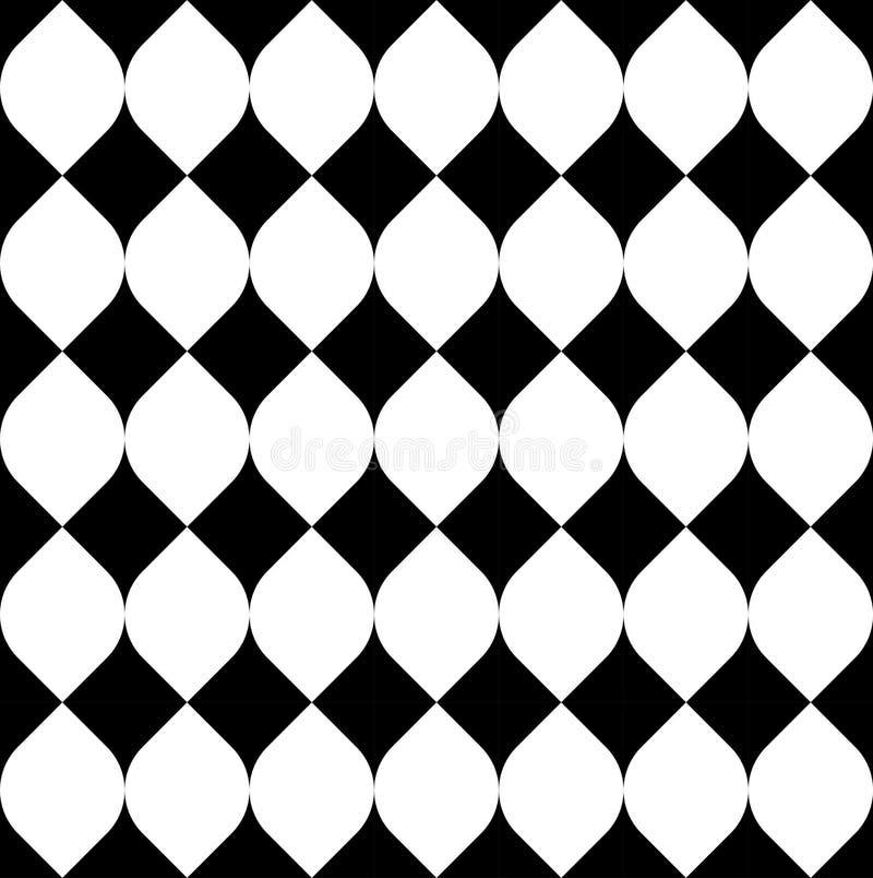 黑白几何无缝的样式,抽象背景 库存例证