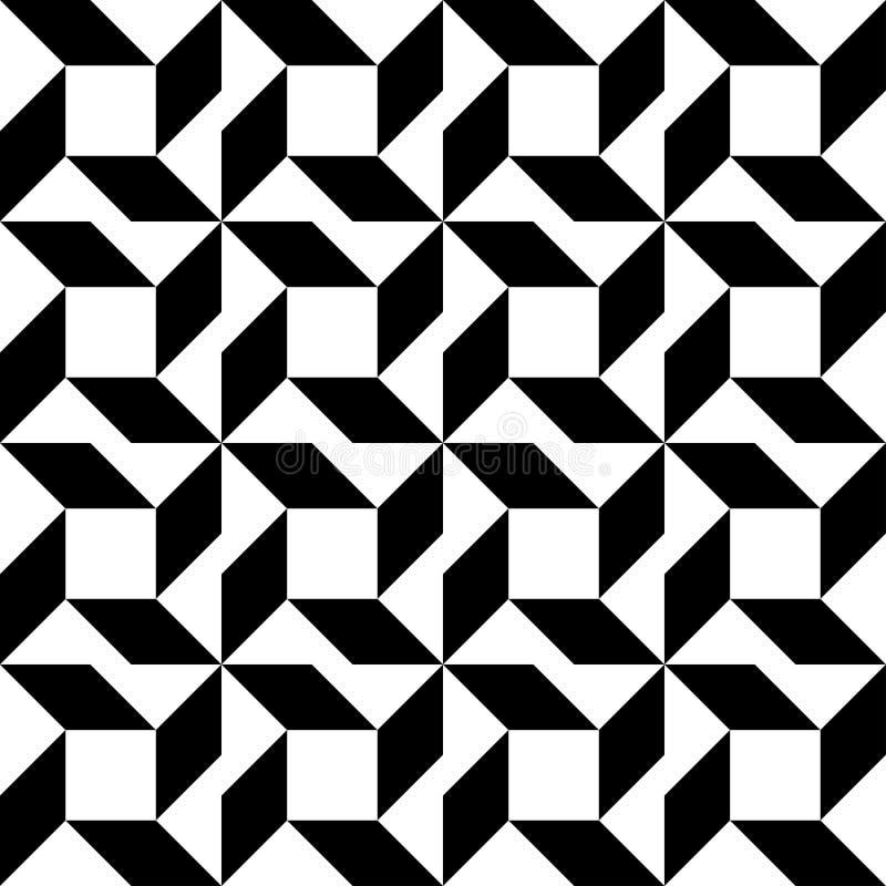 黑白几何无缝的样式,抽象背景 皇族释放例证