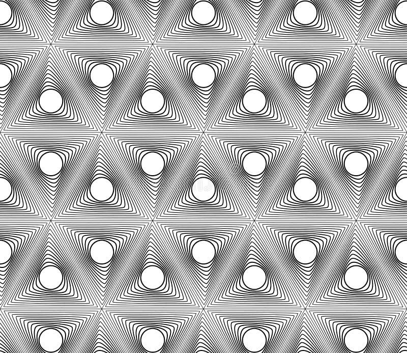 黑白几何无缝的样式 库存例证