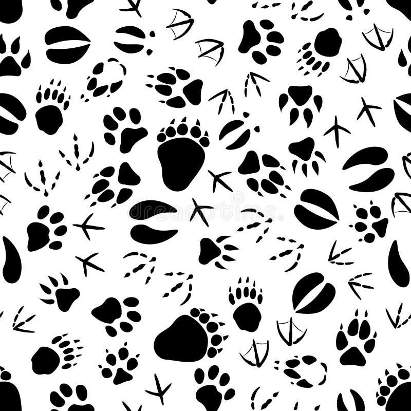 黑白动物跟踪样式 库存例证