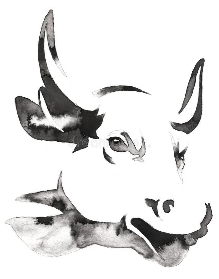 黑白单色绘画用水和墨水得出公牛例证 皇族释放例证