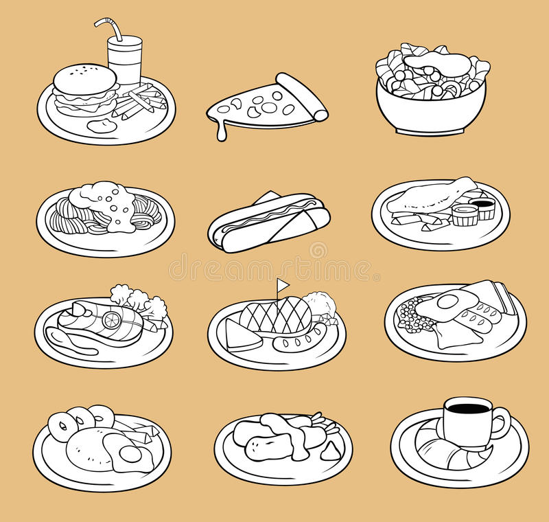 黑白国际食物象collecti线描  向量例证