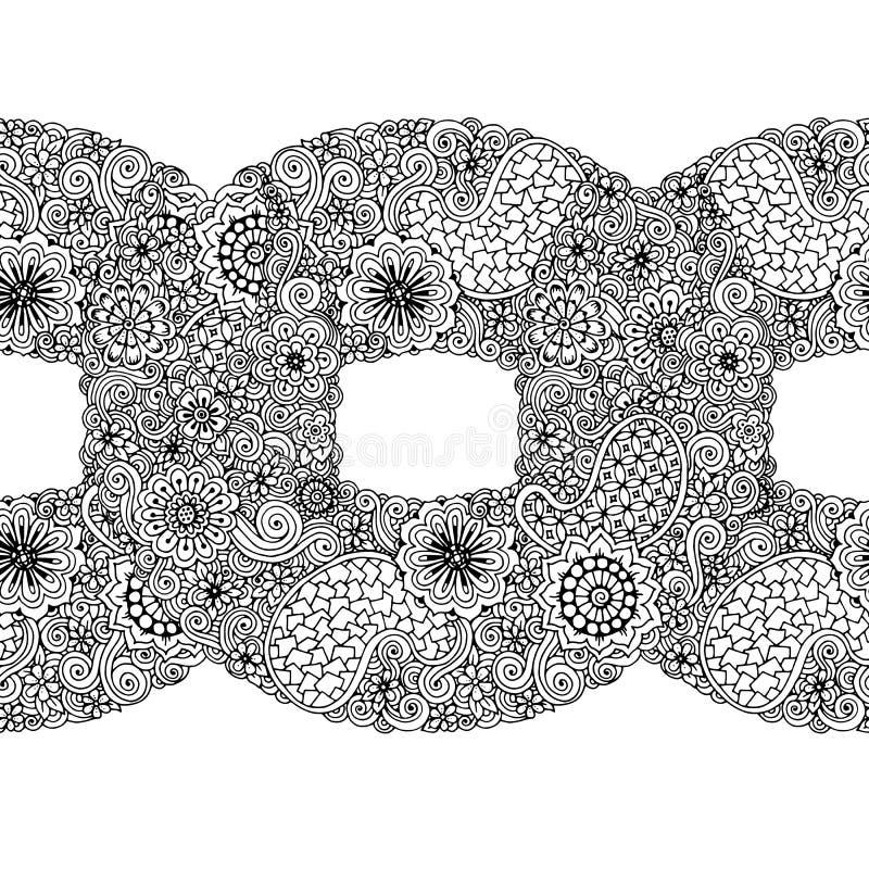 黑白圈子花装饰品,装饰圆的鞋带设计 与佩兹利的花卉坛场 手拉的墨水样式 皇族释放例证
