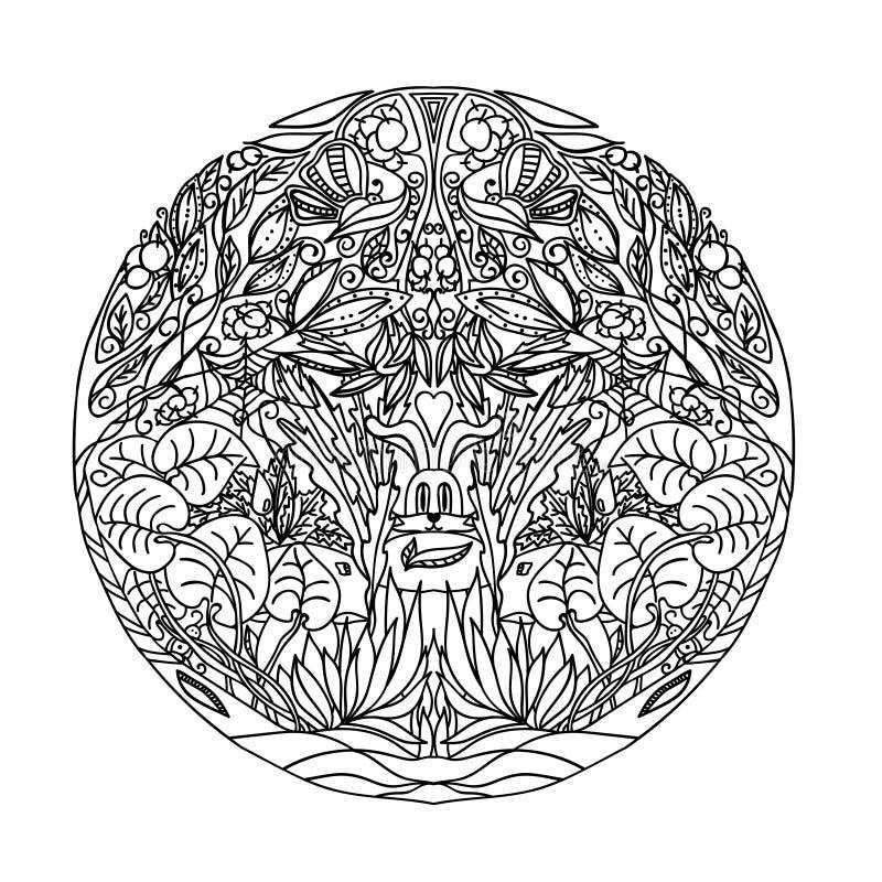 黑白圈子装饰品狂放的森林,装饰圆的鞋带设计 花卉坛场 墨水踪影做的手拉的样式fr 库存例证